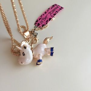 Betsey Johnson unicorn gold color necklace NWT